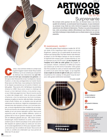 banc d'essai guitare Artwood guitars GA187sc